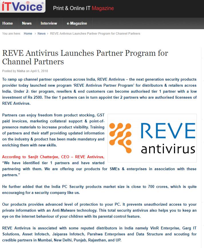 REVE Antivirus channel partner