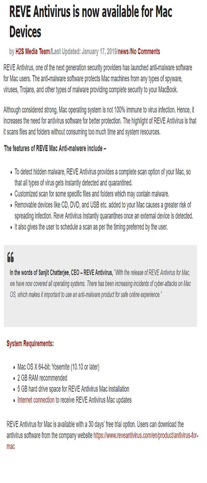 REVE Antivirus announces anti-malware software for Mac Devices